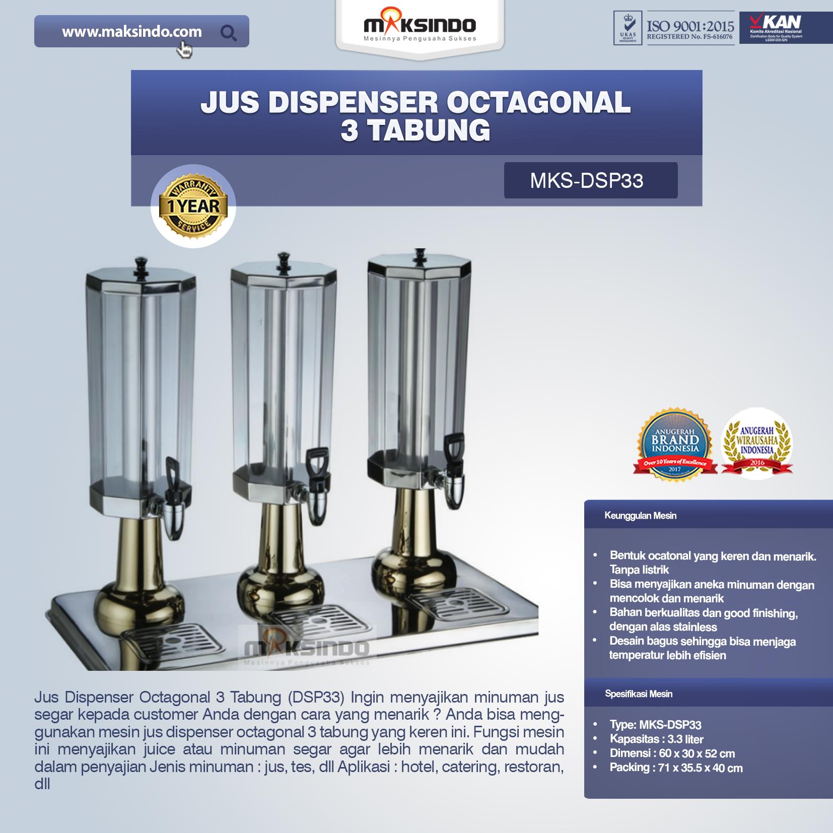 Jual Jus Dispenser Octagonal 3 Tabung (DSP33) di Palembang