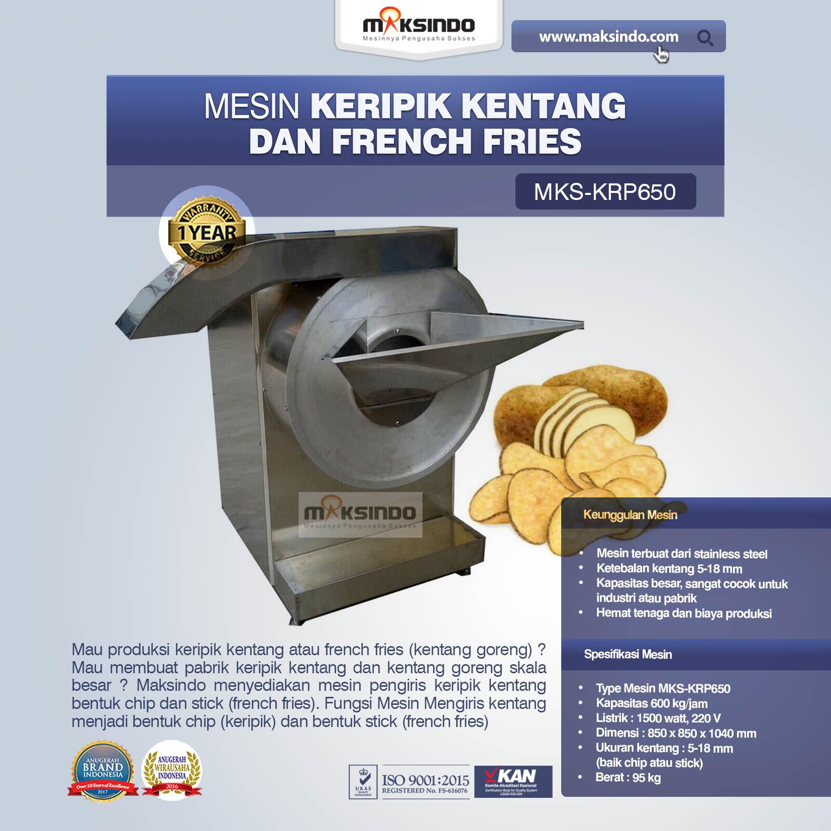 Jual Mesin Keripik Kentang dan French Fries KRP650 di Palembang