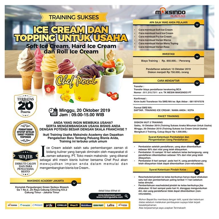 Training Sukses Ice Cream dan Topping Untuk Usaha, Minggu, 20 Oktober 2019