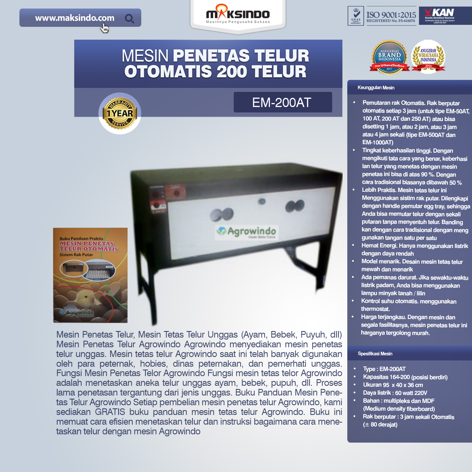 Jual Mesin Penetas Telur Otomatis Kapasitas 200 Telur (EM-200AT) di Palembang