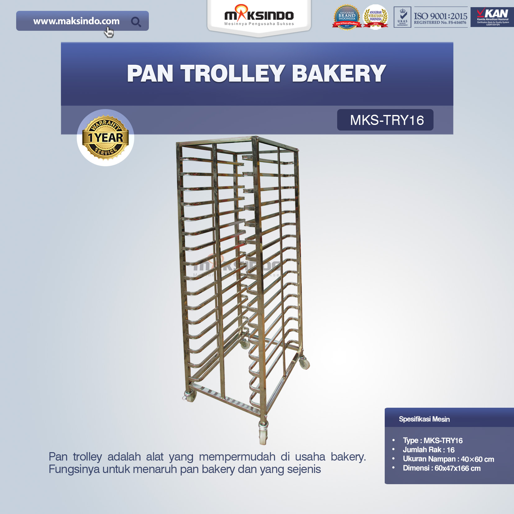 Jual Pan Trolley Bakery (MKS-TRY16) di Palembang