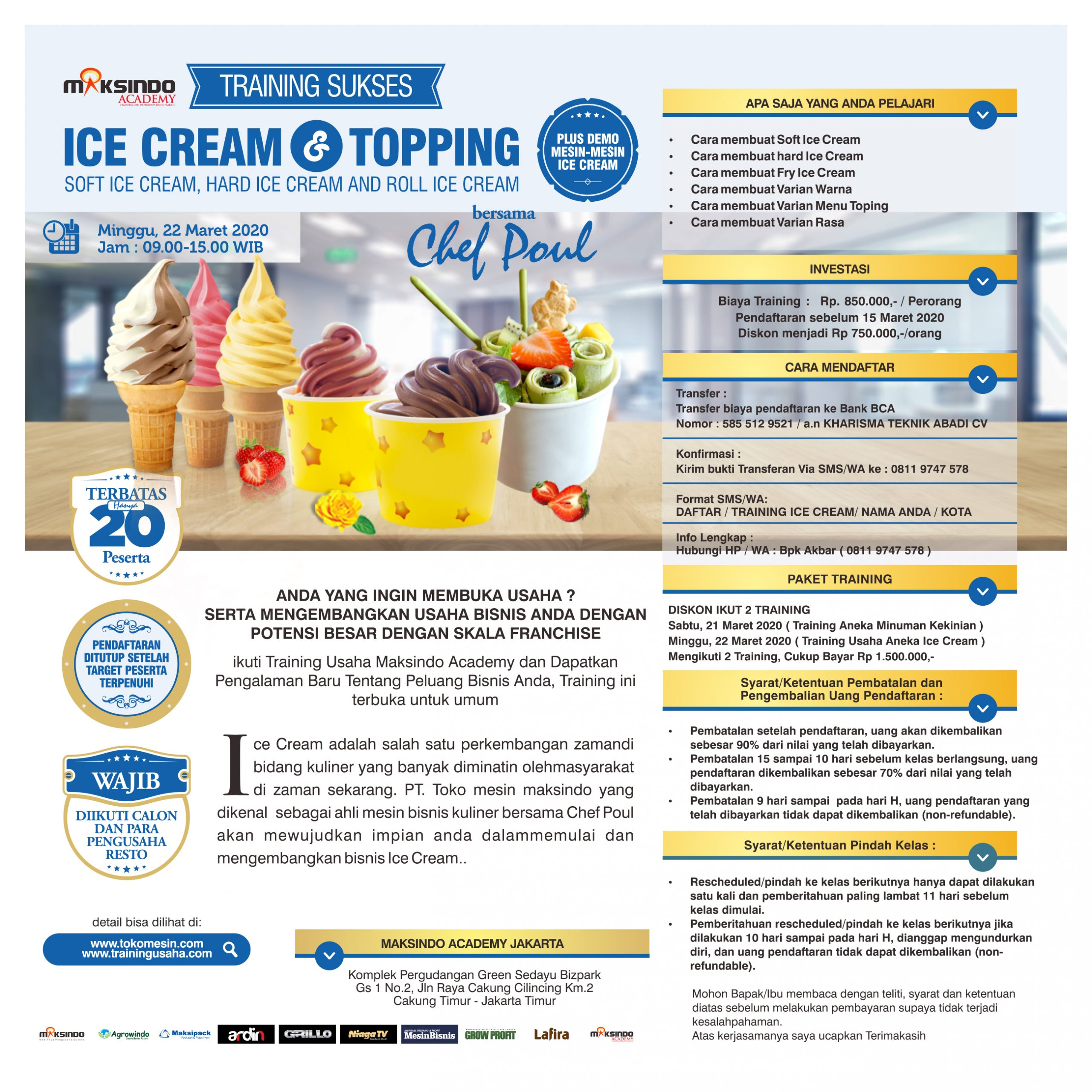 Training Usaha Ice Cream dan Topping, Minggu 22 Maret 2020