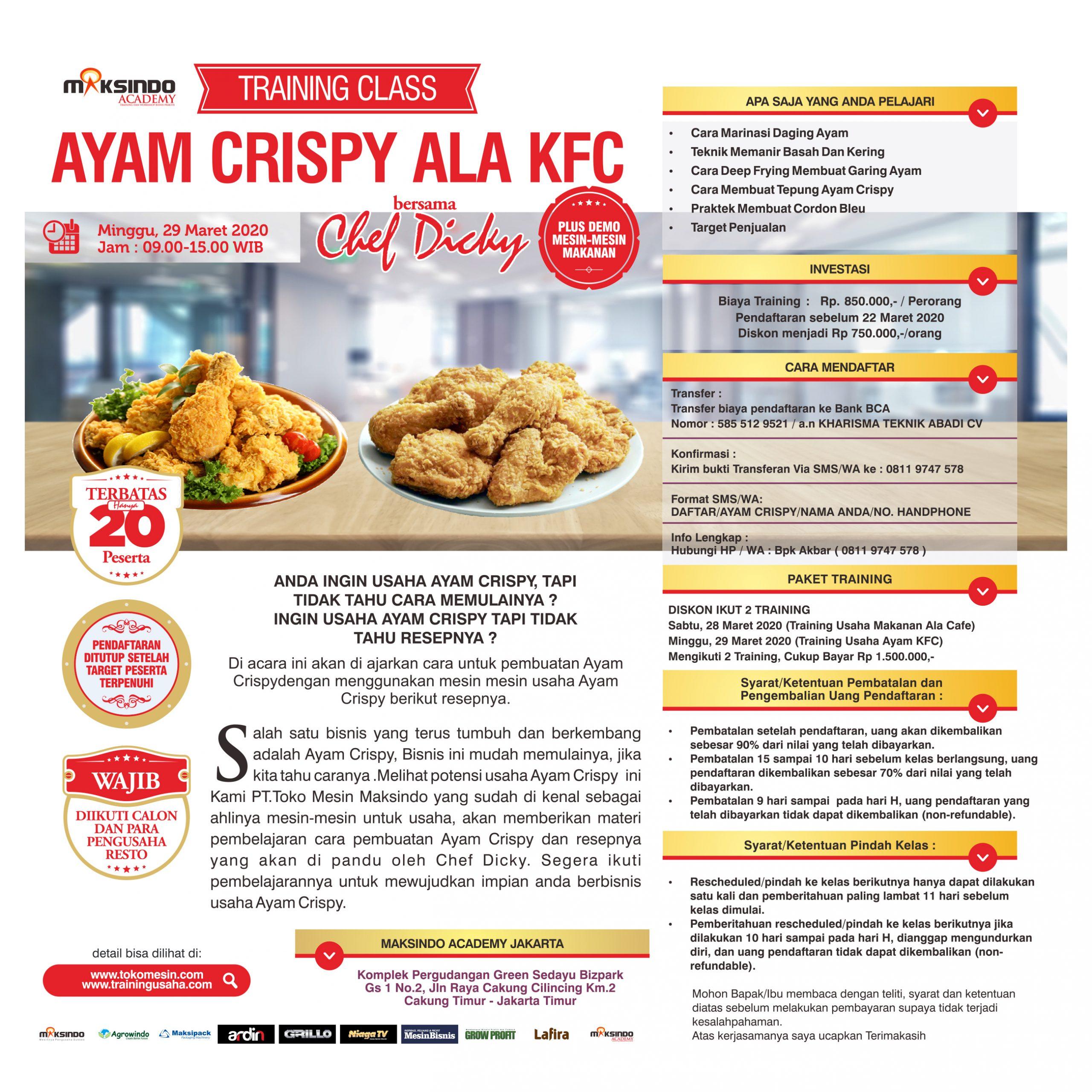 Training Class Ayam Crispy Ala KFC Minggu, 29 Maret 2020