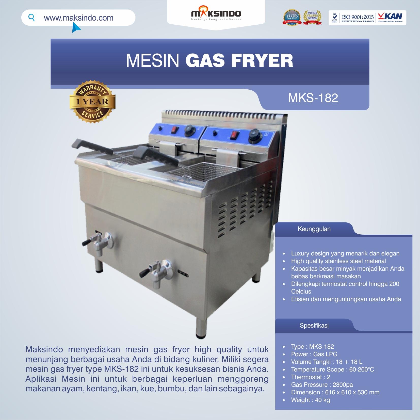 Jual Mesin Gas Fryer (MKS-182) di Palembang