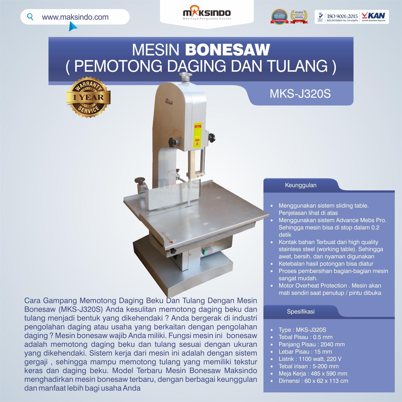 Jual Mesin Bonesaw MKS-J320S (pemotong daging dan tulang) di Palembang