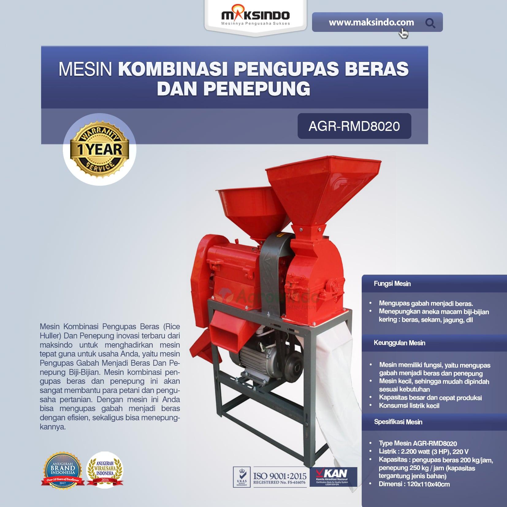 Jual Mesin Kombinasi Pengupas Beras dan Penepung RMD8020 di Palembang